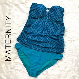 Maternity Swimsuit (Small) Strapless Tankini Set